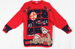 Nutcracker Ugly Christmas Sweater M size Bears Flying Sled - Jamies Closet - 3