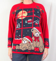 Nutcracker Ugly Christmas Sweater M size Bears Flying Sled - Jamies Closet - 2