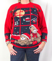 Nutcracker Ugly Christmas Sweater M size Bears Flying Sled - Jamies Closet - 1
