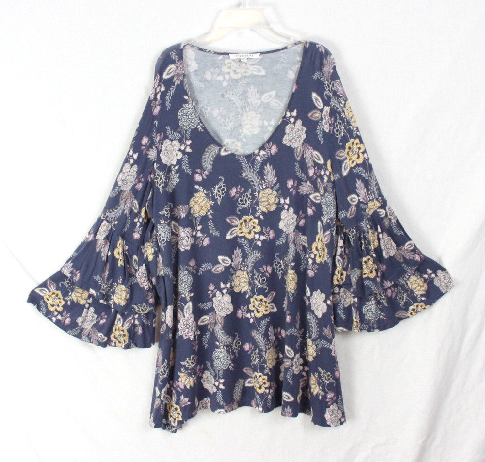 Cute Rose Olive 1x Size Blouse Blue Floral Womens Top Soft Bell