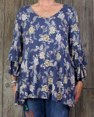 Cute Rose + Olive 1x size Blouse Blue Floral Womens Top Soft Bell Sleeve Boho Plus Top