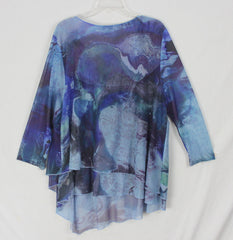 Pretty One World Blouse 1x size Blue Purple Layered Net Top Womens Stretch Plus