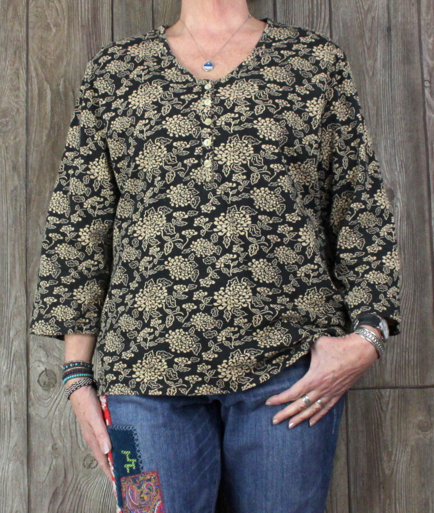 Pretty Orvis Blouse XL sz Black Beige Tan Floral Stretch Cotton