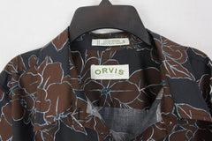 Nice Orvis Blouse 16 XL size Brown Blue Gray Wrinkle Resistant