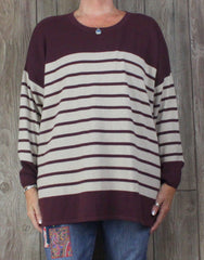 New Orvis Sweater XL size Burgundy Beige Soft Loose Cotton Blend