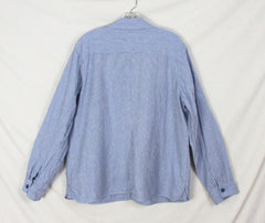 Orvis Shirt Jacket XL size Blue White Pinstripe Womens Work Casual