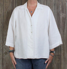 Cute Orvis Linen XL 18 20 size White Blouse Womens Work Casual