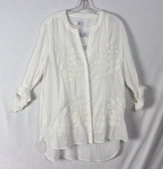 Nice oSo Casuals Blouse Set M size New Ivory Embroidered Top Tank 2pc Womens Shirts - Jamies Closet - 2