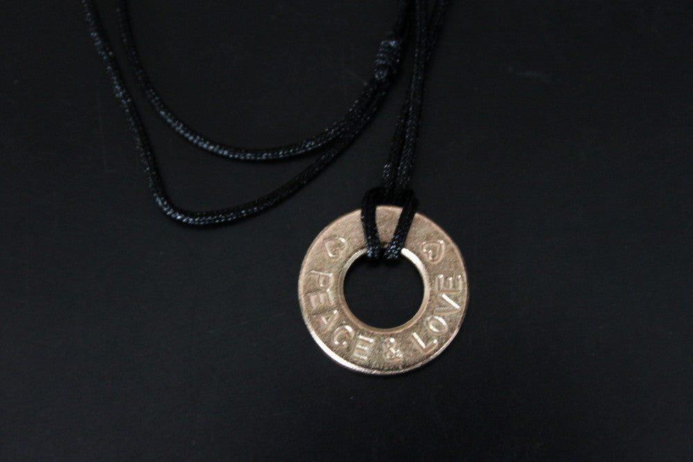 Hand Stamped Peace and Love Bronze Adjustable Necklace or Choker.  Great stocking stuffer! Mutiples Available