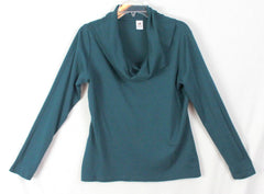 Nice Peruvian Connection Blouse L size Blue Green Stretch Cowl Neck