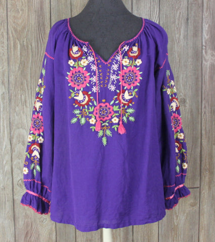 Cute J Peterman Blouse M size Purple Embroidered Floral Hippy Boho Top