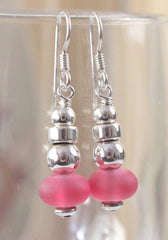 Handcrafted in the USA Sterling Silver Frosted Pink Glass Drop Dangle Earrings New - Jamies Closet - 1