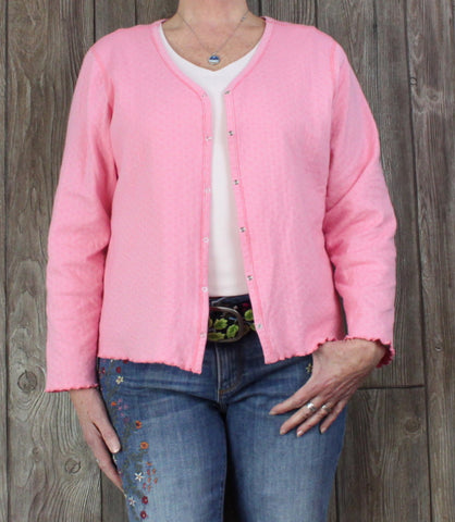 Cute Pink White Snap Front Shirt Jacket L XL size Womens