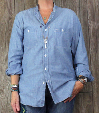 Gap Western Mens Shirt L size Light Denim Blue Casual Collarless Embroidered - Jamies Closet - 1