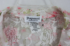 Cute Potpourri Blouse 2x size Rose Pink White Floral Top Womens Net Lace