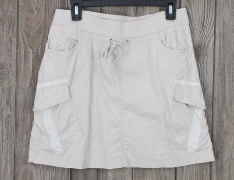 Cute Prana M size Skirt Beige Stretch Waist Pockets Casual Outdoor Cargo Linen Blend