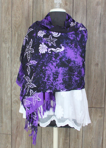 Cute Purple Tye Dye Beach Seahorse Starfish Scarf by Beach Sarongs