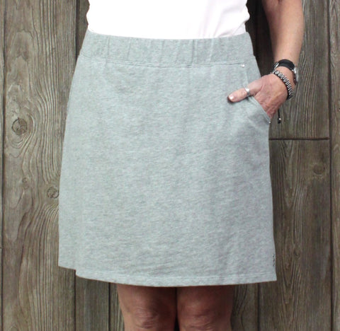 Cute Quacker Factory Skort L size Gray Stretch Womens Skirt Shorts Casual