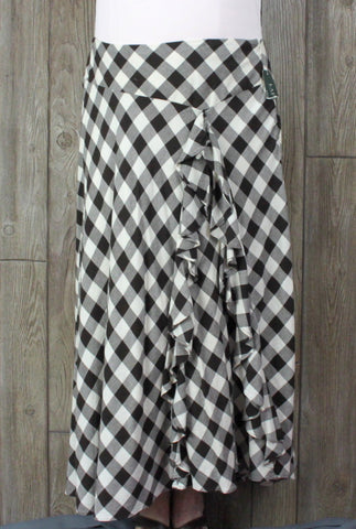 Cute New Lauren Ralph Lauren Skirt 16 XL size Brown Cream Check Ruffled