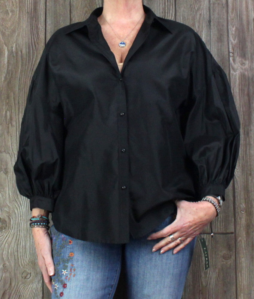 New Lauren Ralph Lauren Blouse XL size Black Puff Sleeve Cocktail Top
