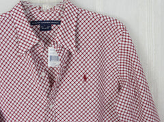 Nice New Ralph Lauren Sport Blouse L size Cranberry Red White Check Womens Cotton Top - Jamies Closet - 3