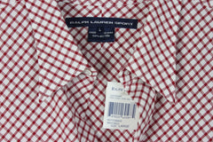 Nice New Ralph Lauren Sport Blouse L size Cranberry Red White Check Womens Cotton Top - Jamies Closet - 4