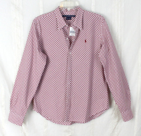 Nice New Ralph Lauren Sport Blouse L size Cranberry Red White Check Womens Cotton Top - Jamies Closet - 1