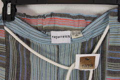 Cute New Raya Sun XL size Wide Leg Pants Blue Multi Striped