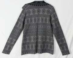 Adorable Tracy Reese Sweater Coat M size Alpaca Blnd Gray Black Southwest Womens Cardigan