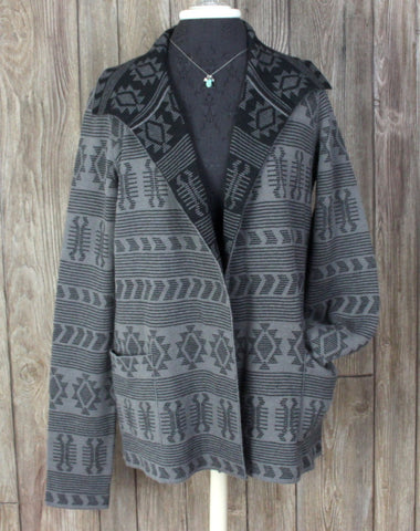 Adorable Tracy Reese Sweater Coat M size Alpaca Blnd Gray Black Southwest Womens Cardigan - Jamies Closet - 1