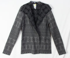Adorable Tracy Reese Sweater Coat M size Alpaca Blnd Gray Black Southwest Womens Cardigan - Jamies Closet - 2