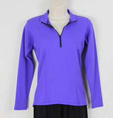 REI Top S size Blue Womens Outdoor Athletic Shirt Back Pockets Stretch 1.4 Zip - Jamies Closet - 1
