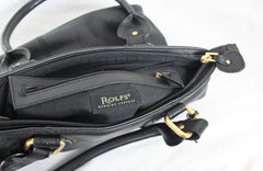 Rolfs Black Leather Shoulder Handbag Zip Top Outside Pocket Brass Accents