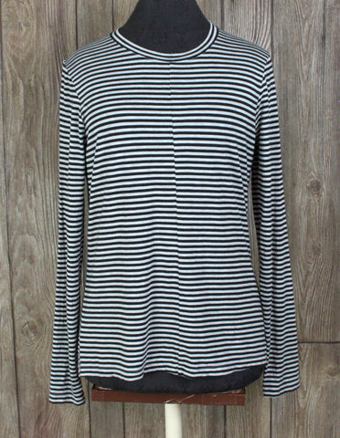 Roots Stretch Top M size Gray Black Stripe Long Sleeve Blouse Womens Modal Blend