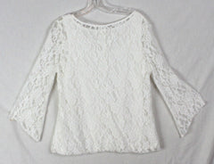 Cute Rove La Blouse L size White Lace Lined Womens Top With Stretch