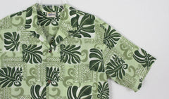 Cool Mens Hawaiian Shirt L size Royal Creations Hawaii Green Floral Aloha - Jamies Closet - 2