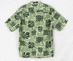 Cool Mens Hawaiian Shirt L size Royal Creations Hawaii Green Floral Aloha - Jamies Closet - 5