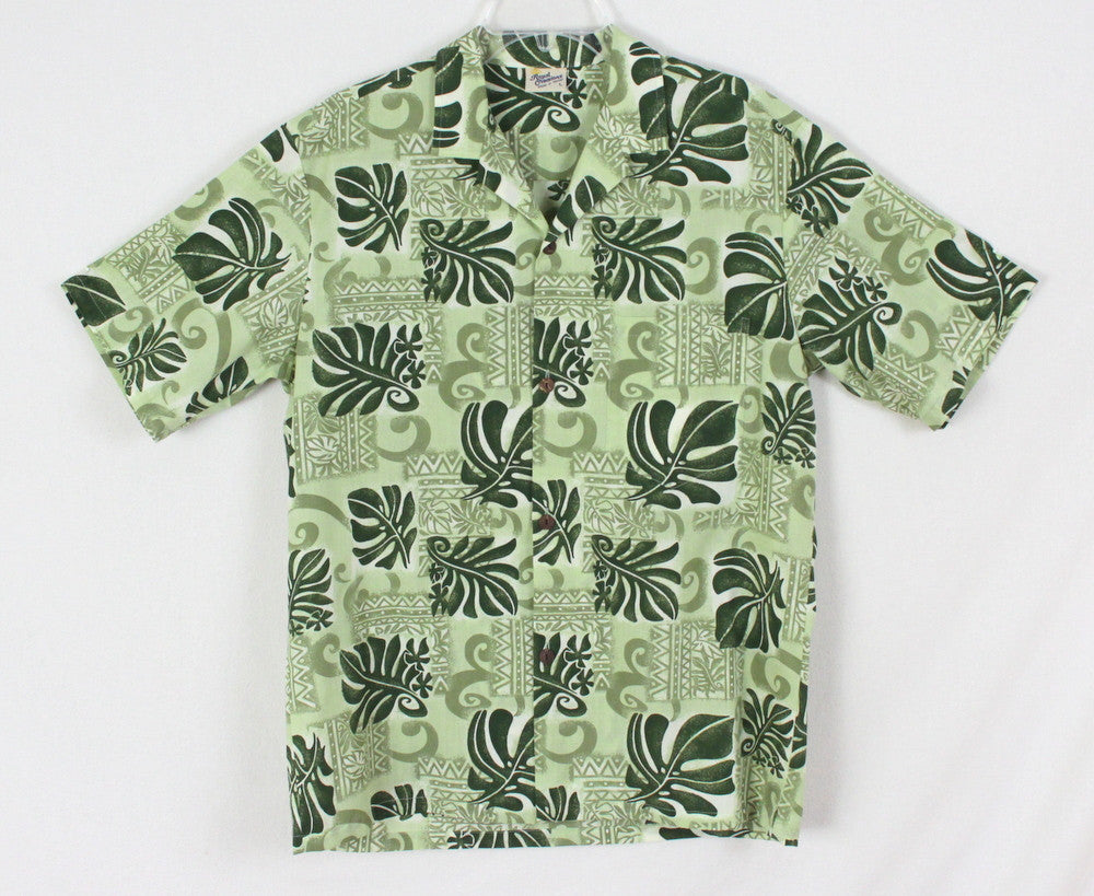 Cool Mens Hawaiian Shirt L size Royal Creations Hawaii Green Floral Aloha - Jamies Closet - 1