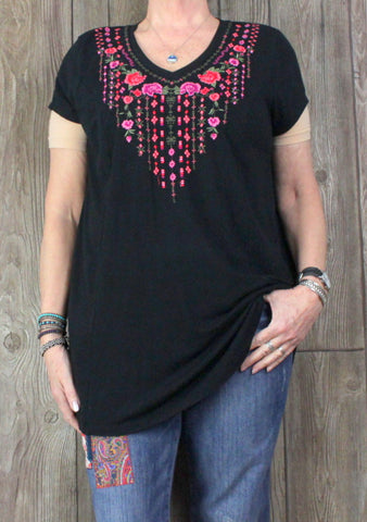 Cute Sahalie XL size Tunic Top Black Pink Multi Color Embroidered Florals