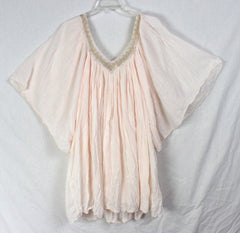 Cute Pink Tunic Top New M L size Scandal Italy Designer Gold Metallic Accent