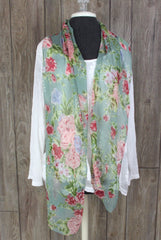 Pretty Multi Color Floral Scarf 12 X 70 Sheer Polyester Crinkle Chiffon