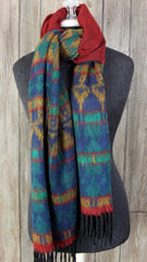 Pretty Fleece Scarf Shawl.  Rust green blue very soft earthy colors