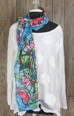 Cute New Stained Glass Frog Scarf Blue Pink Green Multi Color Sheer Oblong