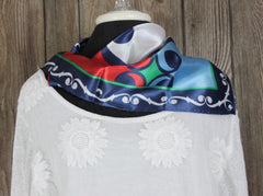 Classic Blue White Red Green Square Scarf 20 x 20 Polyester Sheen Waverly