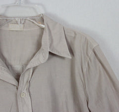 sHiRt CP Shades M size Blouse Beige Oatmeal Fine Corduroy Fitted Top Womens