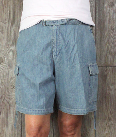 New Lauren Ralph Lauren Denim Shorts 16 size 37 38 Waist Light Blue