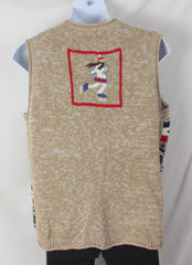 Ugly Christmas Sweater Vest 2x size Ice Skaters Mittens Beenies Mens Womens Hats - Jamies Closet - 6