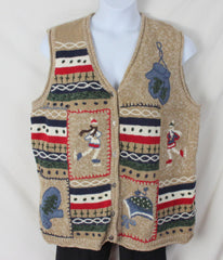 Ugly Christmas Sweater Vest 2x size Ice Skaters Mittens Beenies Mens Womens Hats - Jamies Closet - 3