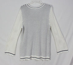 Adorable Skyes the limit 1x size Sweater Off White Black Open Bell Sleeve Womens Plus