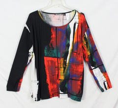 Cute Snowskins XL size Blouse Multi color Stretch Top Womens Long Sleeve
